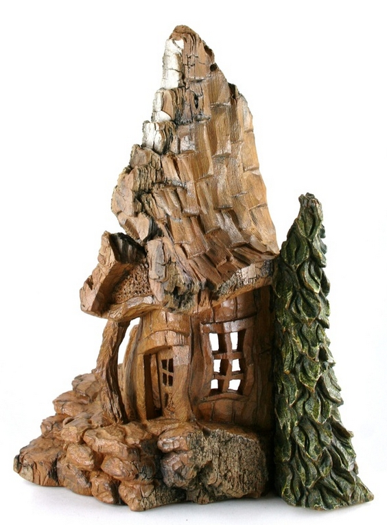 whimsical cottonwood bark houses